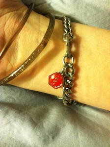 Charm on my Medical ID bracelet! The red catches the eye of the person trained to look for the symbol!